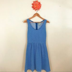 ANTHROPOLOGIE MAEVE Blue & White Polka Dot Dress